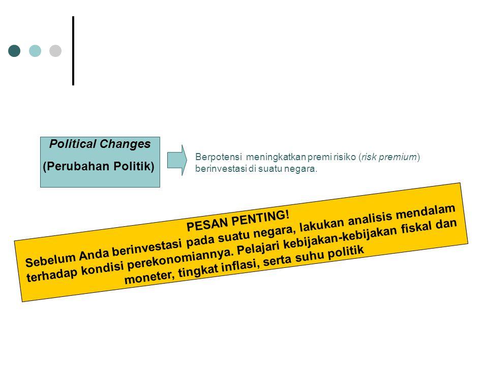 Political Changes (Perubahan Politik) Berpotensi meningkatkan premi risiko (risk premium) berinvestasi di suatu negara. PESAN PENTING! Sebelum Anda be