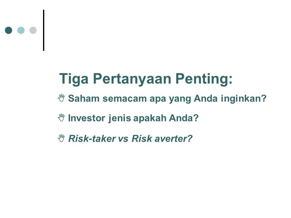  Saham semacam apa yang Anda inginkan?  Investor jenis apakah Anda?  Risk-taker vs Risk averter? Tiga Pertanyaan Penting: