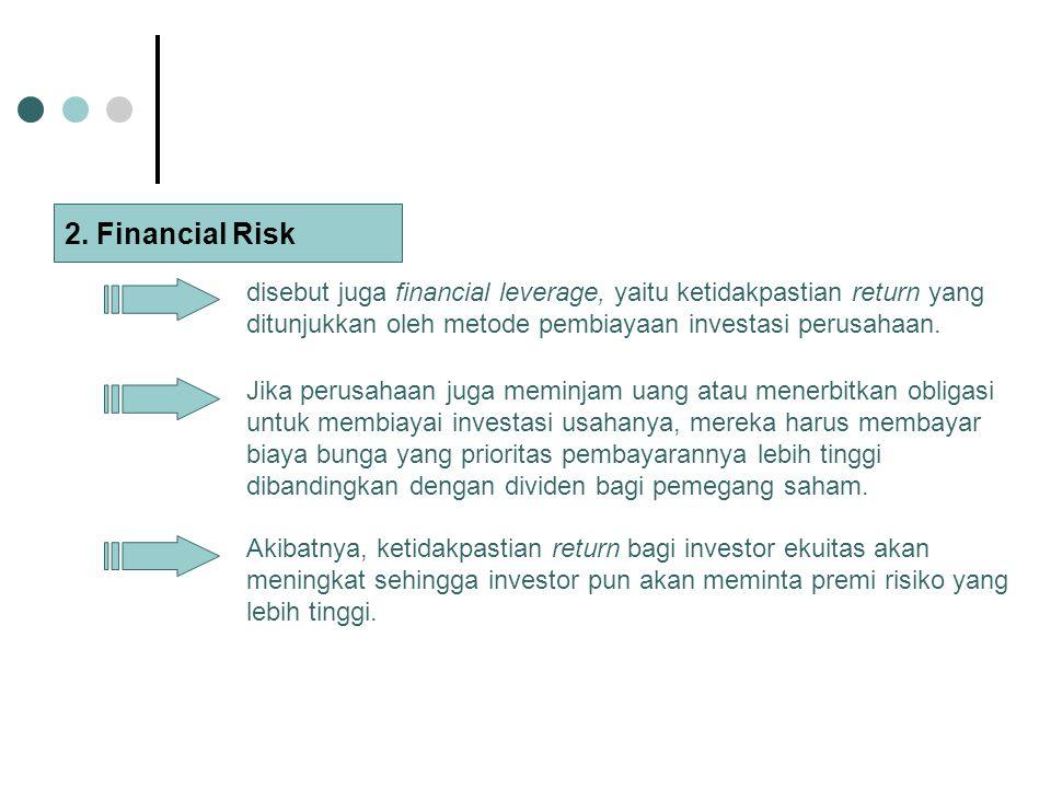 2. Financial Risk disebut juga financial leverage, yaitu ketidakpastian return yang ditunjukkan oleh metode pembiayaan investasi perusahaan. Jika peru
