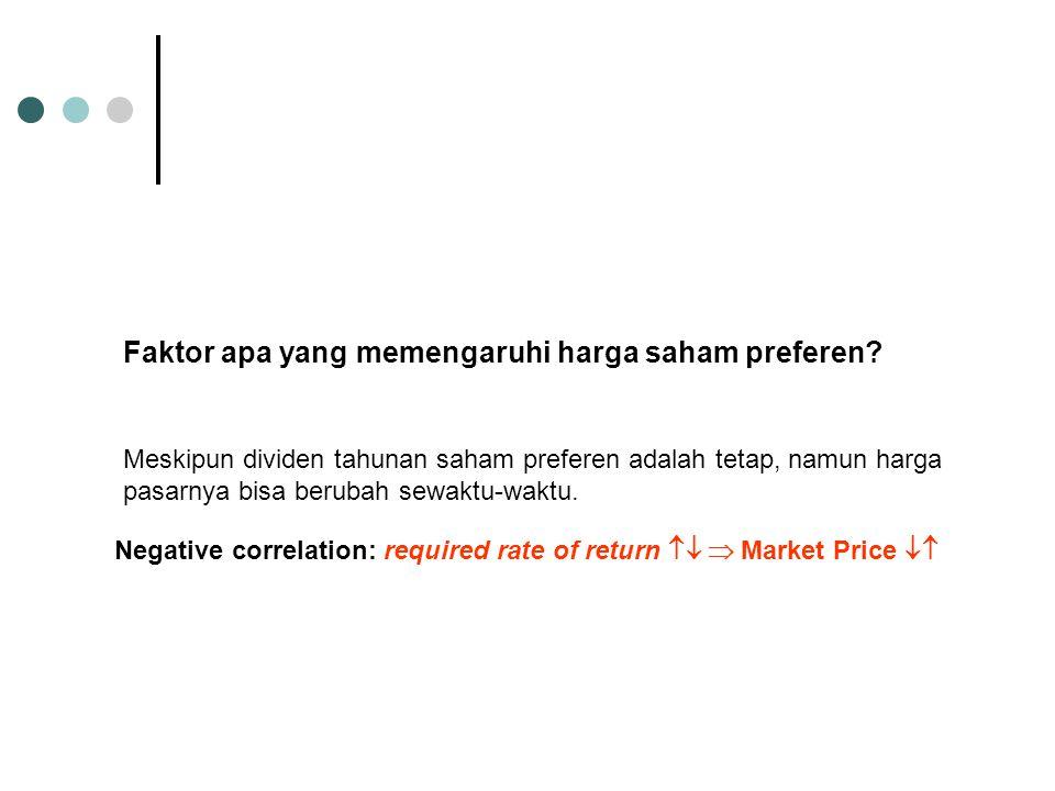 Faktor apa yang memengaruhi harga saham preferen? Meskipun dividen tahunan saham preferen adalah tetap, namun harga pasarnya bisa berubah sewaktu-wakt
