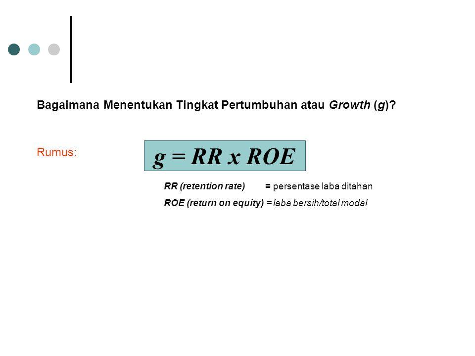 Bagaimana Menentukan Tingkat Pertumbuhan atau Growth (g)? g = RR x ROE Rumus: RR (retention rate) = persentase laba ditahan ROE (return on equity) = l