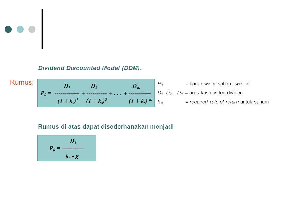D 1 D 2 D  P 0 = ------------ + ---------- +... + ----------- (1 + k s ) 1 (1 + k s ) 2 (1 + k s )  Rumus: P 0 = harga wajar saham saat ini D 1, D 2