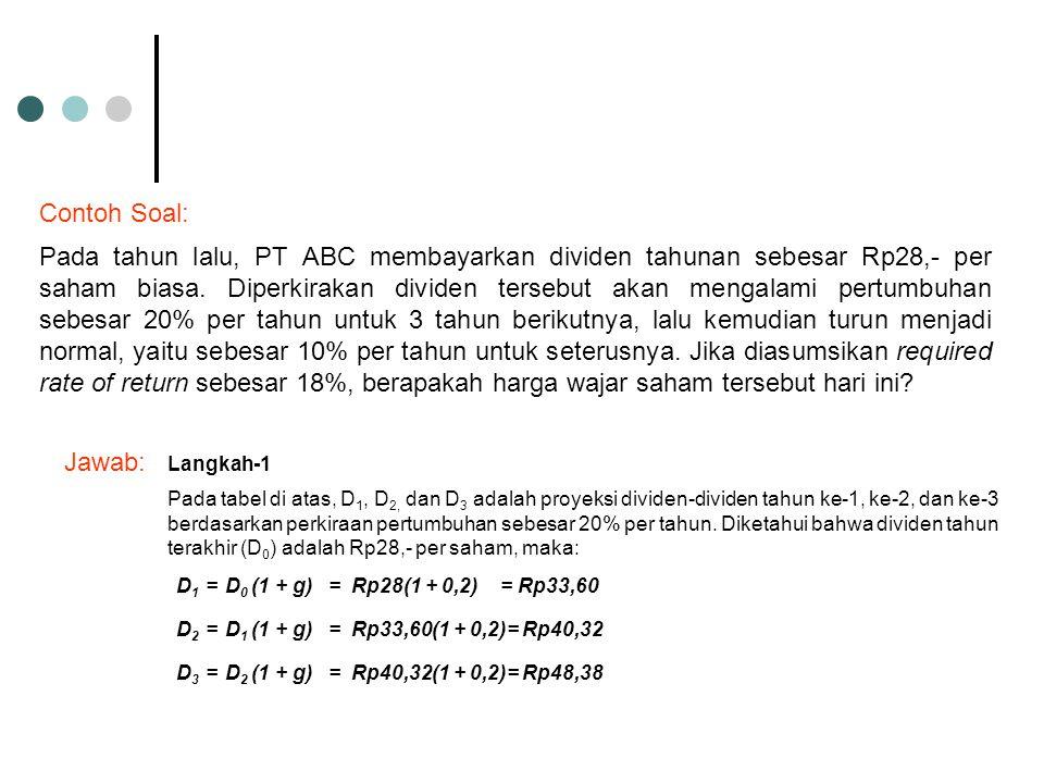 Contoh Soal: Pada tahun lalu, PT ABC membayarkan dividen tahunan sebesar Rp28,- per saham biasa. Diperkirakan dividen tersebut akan mengalami pertumbu