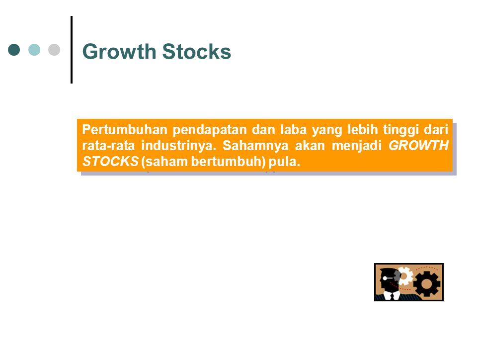 Growth Stocks Pertumbuhan pendapatan dan laba yang lebih tinggi dari rata-rata industrinya. Sahamnya akan menjadi GROWTH STOCKS (saham bertumbuh) pula
