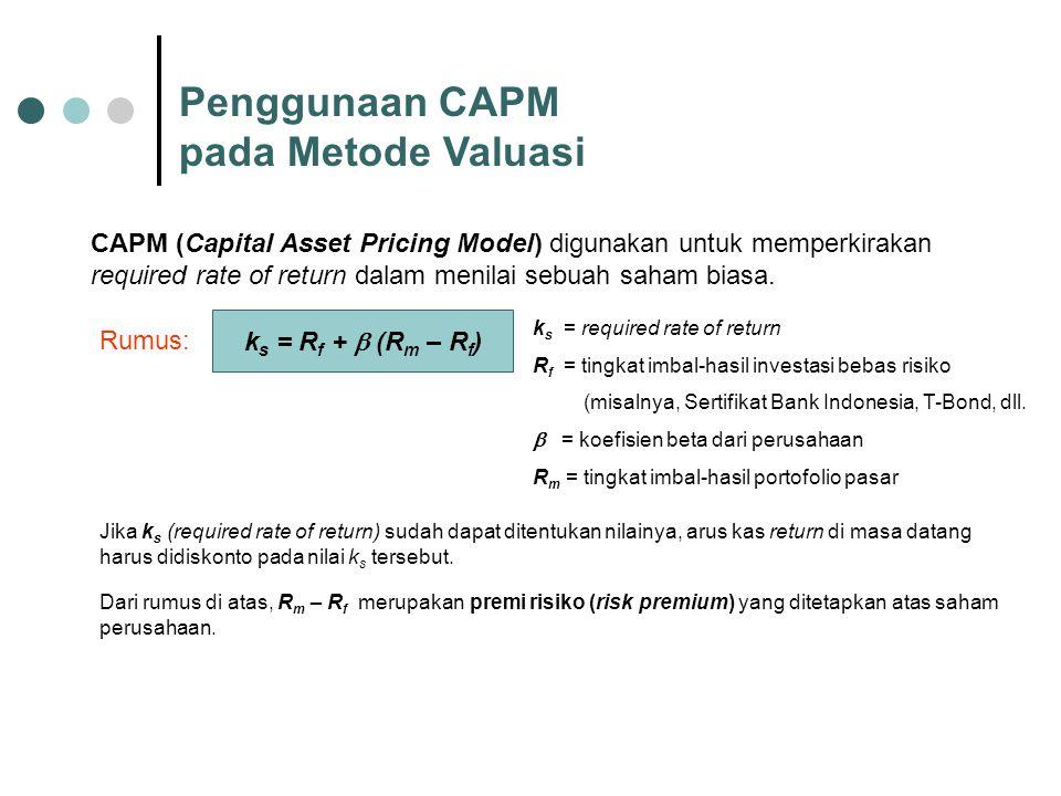 Penggunaan CAPM pada Metode Valuasi CAPM (Capital Asset Pricing Model) digunakan untuk memperkirakan required rate of return dalam menilai sebuah saha