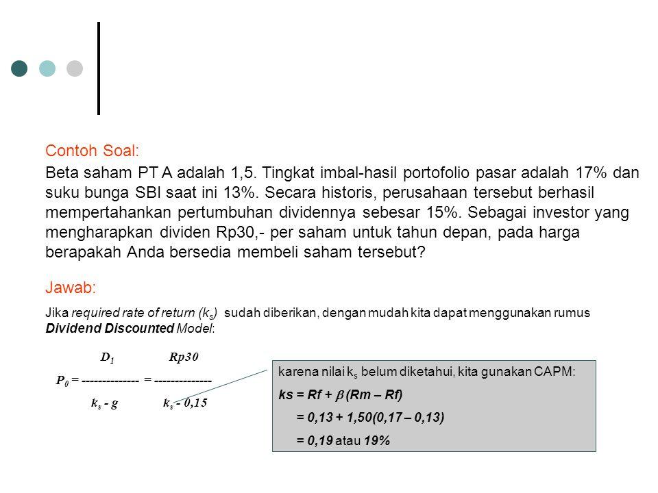 Beta saham PT A adalah 1,5. Tingkat imbal-hasil portofolio pasar adalah 17% dan suku bunga SBI saat ini 13%. Secara historis, perusahaan tersebut berh