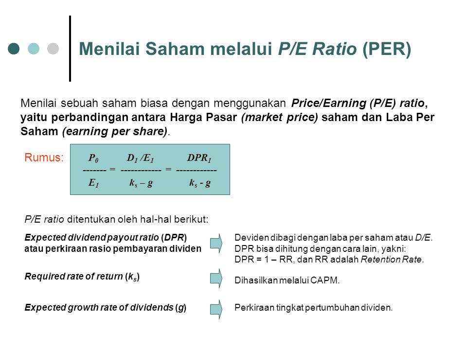 Menilai Saham melalui P/E Ratio (PER) Menilai sebuah saham biasa dengan menggunakan Price/Earning (P/E) ratio, yaitu perbandingan antara Harga Pasar (