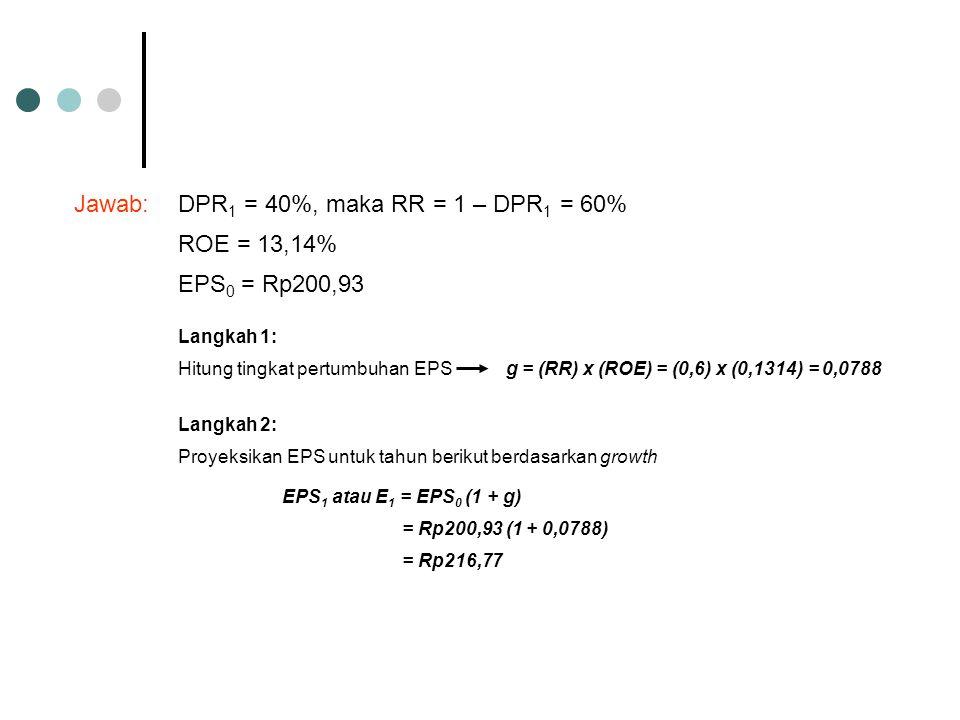 Jawab:DPR 1 = 40%, maka RR = 1 – DPR 1 = 60% ROE = 13,14% EPS 0 = Rp200,93 Langkah 1: Hitung tingkat pertumbuhan EPSg = (RR) x (ROE) = (0,6) x (0,1314