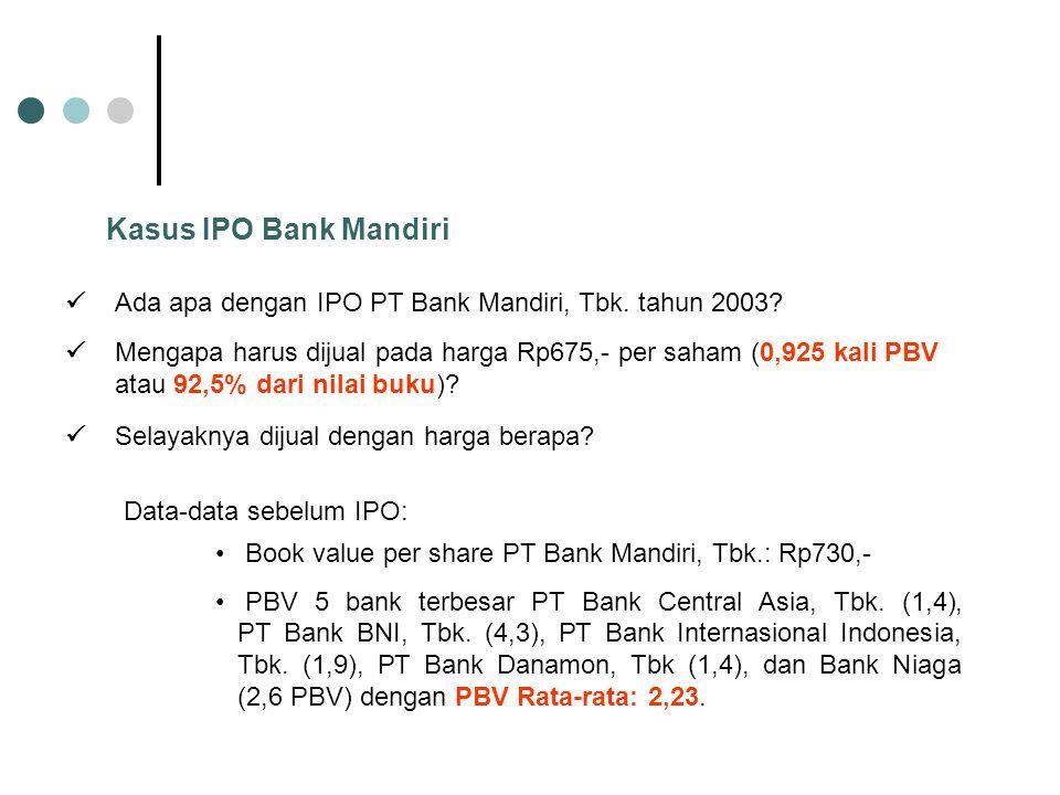 Kasus IPO Bank Mandiri Ada apa dengan IPO PT Bank Mandiri, Tbk. tahun 2003? Book value per share PT Bank Mandiri, Tbk.: Rp730,- PBV 5 bank terbesar PT