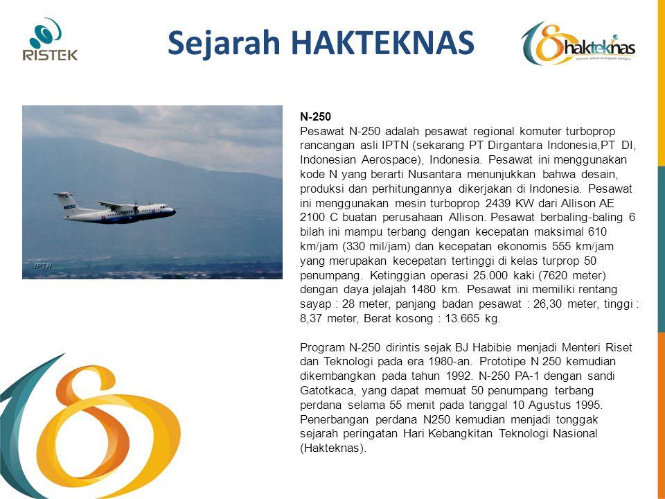 Sejarah HAKTEKNAS N-250 Pesawat N-250 adalah pesawat regional komuter turboprop rancangan asli IPTN (sekarang PT Dirgantara Indonesia,PT DI, Indonesia