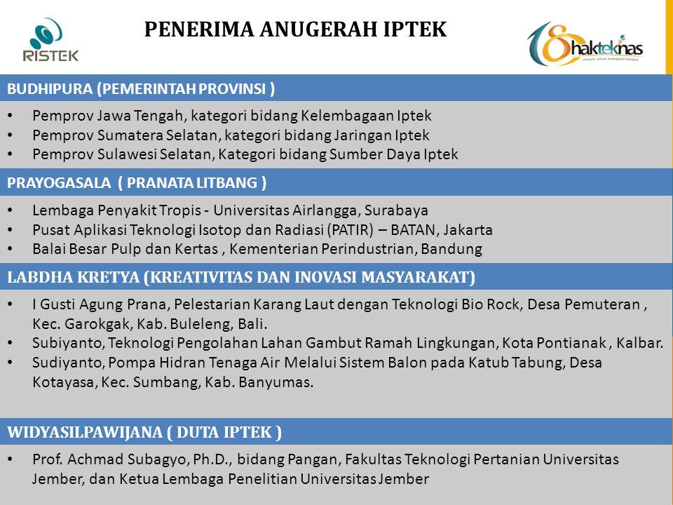 PENERIMA ANUGERAH IPTEK BUDHIPURA (PEMERINTAH PROVINSI ) Pemprov Jawa Tengah, kategori bidang Kelembagaan Iptek Pemprov Sumatera Selatan, kategori bid