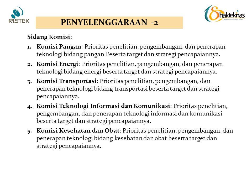 Sidang Komisi: 1.Komisi Pangan: Prioritas penelitian, pengembangan, dan penerapan teknologi bidang pangan Peserta target dan strategi pencapaiannya. 2
