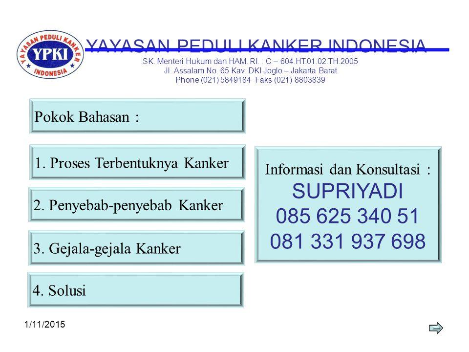 SELAMAT DATANG 1/11/20152 PARA PESERTA SEMINAR PENYAKIT KANKER MENGENAL DAN MENCEGAH KANKER SEJAK DINI TEMA YAYASAN PEDULI KANKER INDONESIA Bersama :