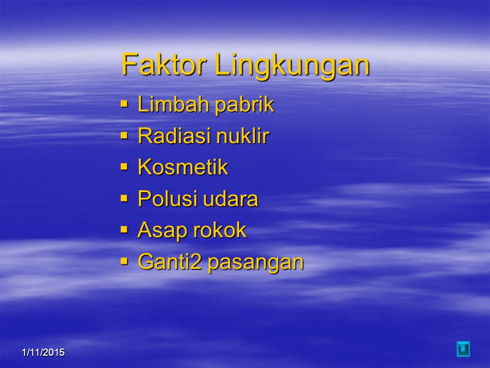 1/11/201516 Faktor Lingkungan  Limbah pabrik  Radiasi nuklir  Kosmetik  Polusi udara  Asap rokok  Ganti2 pasangan