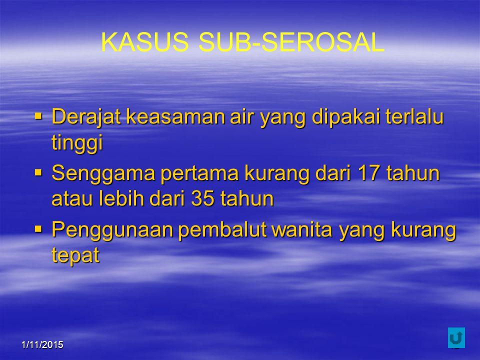 1/11/201542 KASUS SUB-SEROSAL  Derajat keasaman air yang dipakai terlalu tinggi  Senggama pertama kurang dari 17 tahun atau lebih dari 35 tahun  Pe