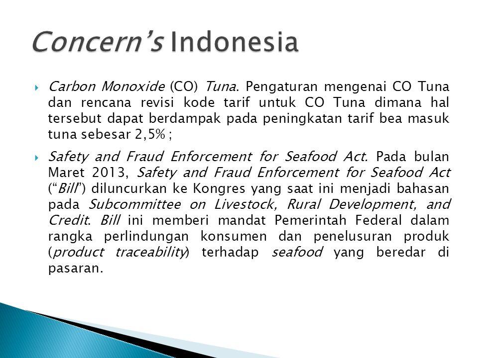  Carbon Monoxide (CO) Tuna. Pengaturan mengenai CO Tuna dan rencana revisi kode tarif untuk CO Tuna dimana hal tersebut dapat berdampak pada peningka