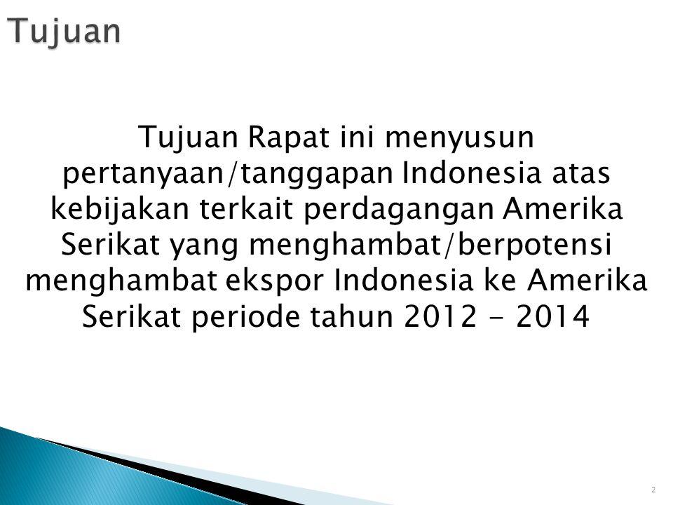 Tujuan Rapat ini menyusun pertanyaan/tanggapan Indonesia atas kebijakan terkait perdagangan Amerika Serikat yang menghambat/berpotensi menghambat eksp