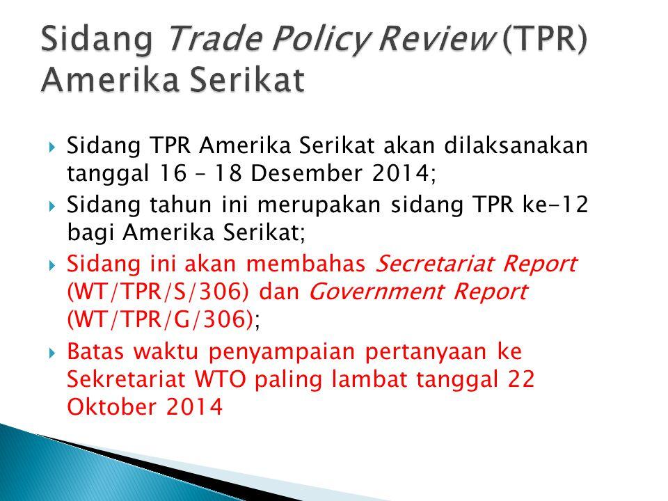  Sidang TPR Amerika Serikat akan dilaksanakan tanggal 16 – 18 Desember 2014;  Sidang tahun ini merupakan sidang TPR ke-12 bagi Amerika Serikat;  Si