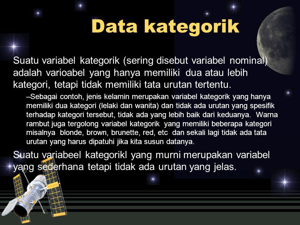 Data kategorik Suatu variabel kategorik (sering disebut variabel nominal) adalah varioabel yang hanya memiliki dua atau lebih kategori, tetapi tidak m