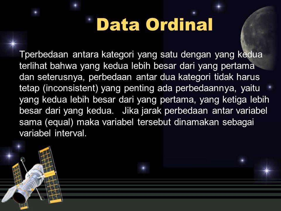 Data Interval Suatu variabel interval adalah sama dengan variabel ordinal, hanya saja interval antara dua ketegori variabelnya sama, atau terdapat jarak yang sama antara dua kategori.