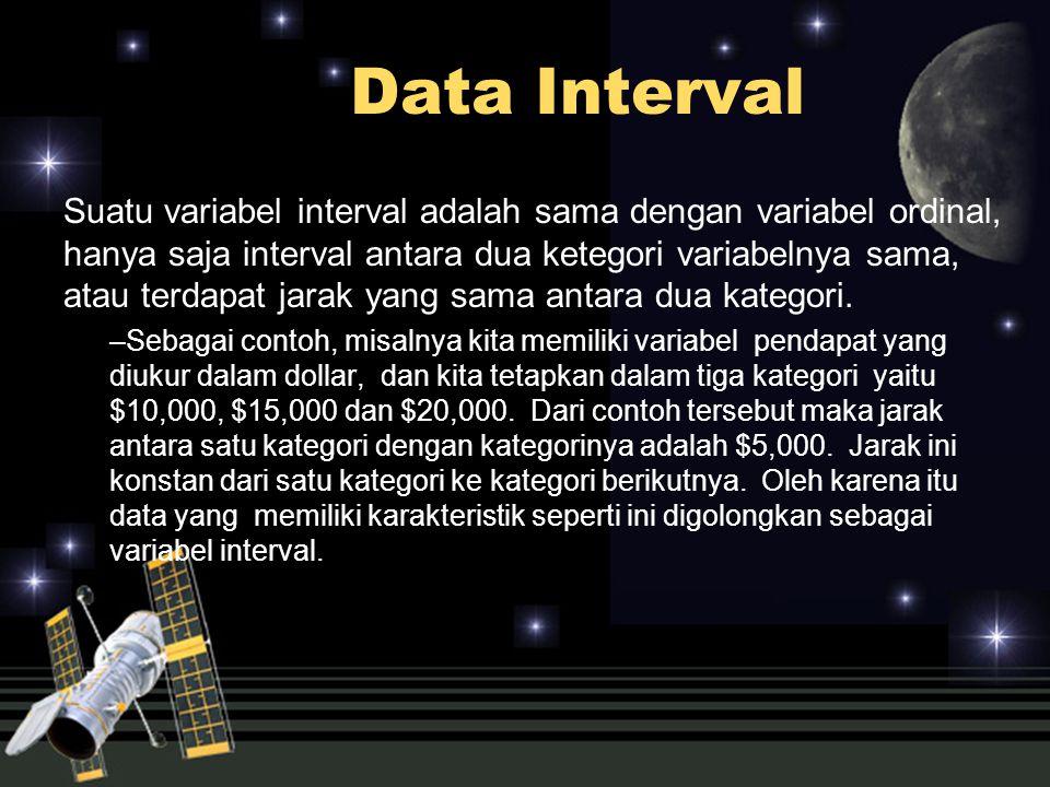 Data Interval Suatu variabel interval adalah sama dengan variabel ordinal, hanya saja interval antara dua ketegori variabelnya sama, atau terdapat jar