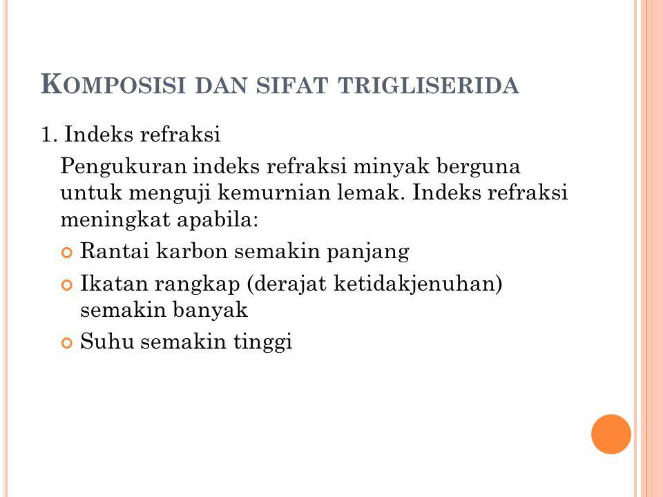 K OMPOSISI DAN SIFAT TRIGLISERIDA 1.