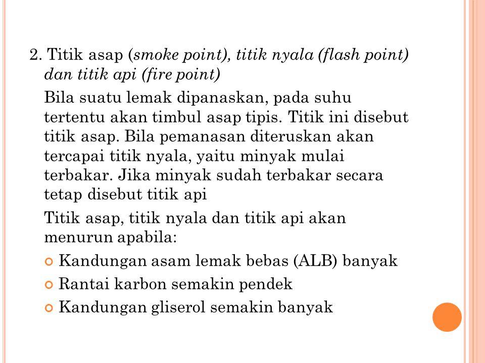 2. Titik asap ( smoke point), titik nyala (flash point) dan titik api (fire point) Bila suatu lemak dipanaskan, pada suhu tertentu akan timbul asap ti