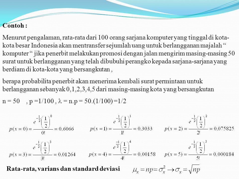 Contoh : Menurut pengalaman, rata-rata dari 100 orang sarjana komputer yang tinggal di kota- kota besar Indonesia akan mentransfer sejumlah uang untuk berlangganan majalah komputer jika penerbit melakukan promosi dengan jalan mengirim masing-masing 50 surat untuk berlangganan yang telah dibubuhi perangko kepada sarjana-sarjana yang berdiam di kota-kota yang bersangkutan, berapa probabilita penerbit akan menerima kembali surat permintaan untuk berlangganan sebanyak 0,1,2,3,4,5 dari masing-masing kota yang bersangkutan n = 50, p =1/100, = n.p = 50.(1/100) =1/2 Rata-rata, varians dan standard deviasi