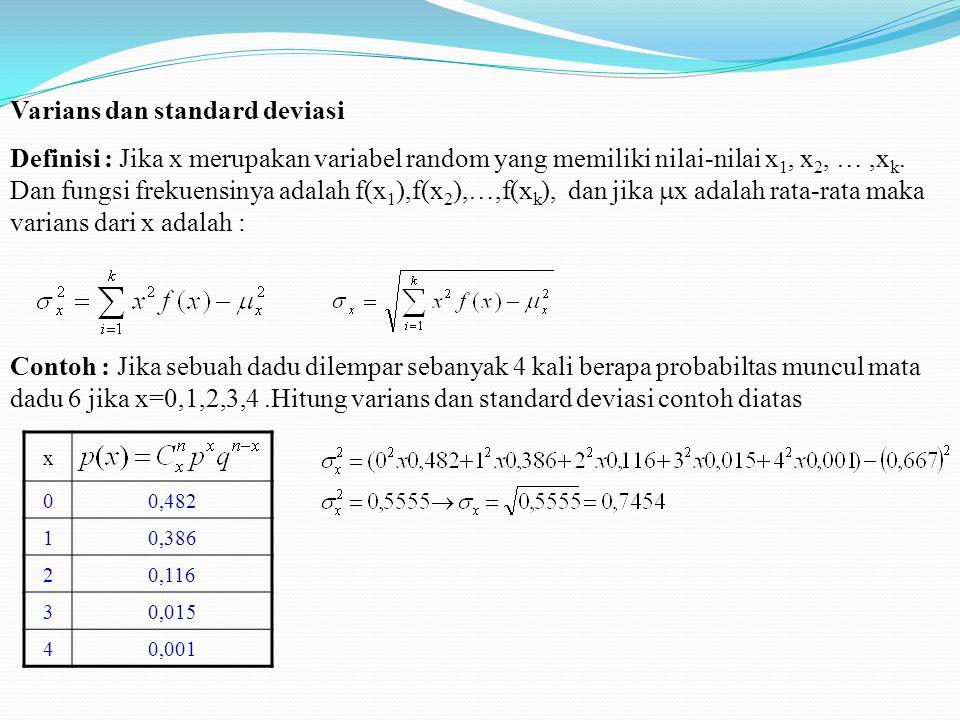 Varians dan standard deviasi Definisi : Jika x merupakan variabel random yang memiliki nilai-nilai x 1, x 2, …,x k. Dan fungsi frekuensinya adalah f(x