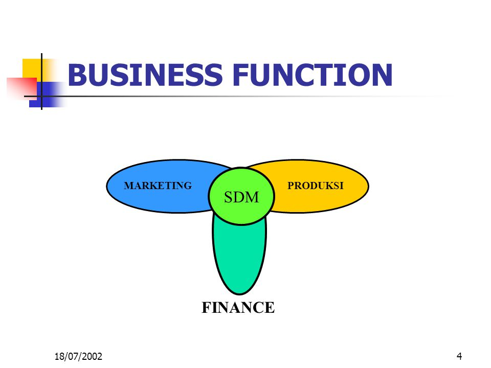 4 BUSINESS FUNCTION SDM MARKETINGPRODUKSI FINANCE 18/07/2002