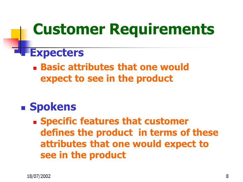 8 Customer Requirements Expecters Basic attributes that one would expect to see in the product Spokens Specific features that customer defines the product in terms of these attributes that one would expect to see in the product 18/07/2002