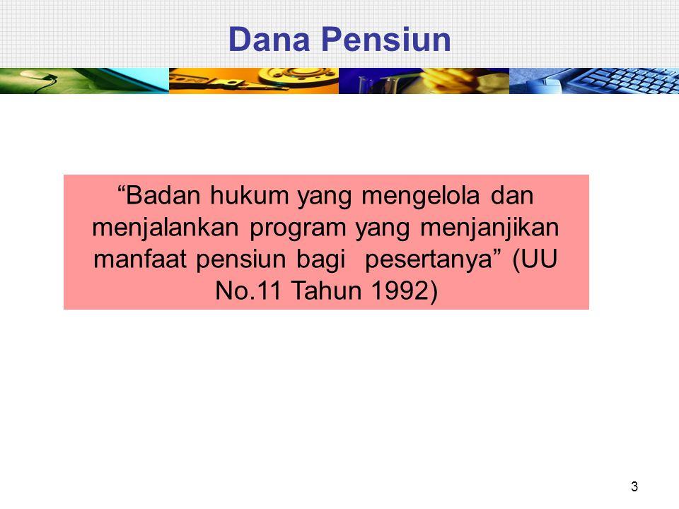 """3 Dana Pensiun """"Badan hukum yang mengelola dan menjalankan program yang menjanjikan manfaat pensiun bagi pesertanya"""" (UU No.11 Tahun 1992)"""