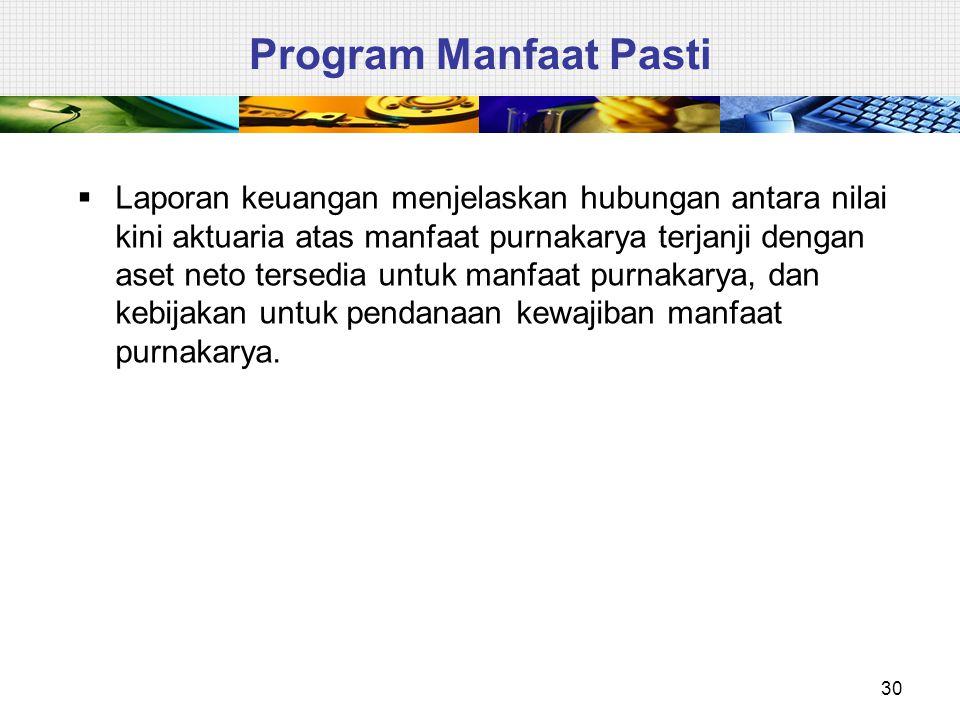 30 Program Manfaat Pasti  Laporan keuangan menjelaskan hubungan antara nilai kini aktuaria atas manfaat purnakarya terjanji dengan aset neto tersedia
