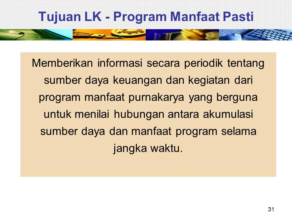 31 Tujuan LK - Program Manfaat Pasti Memberikan informasi secara periodik tentang sumber daya keuangan dan kegiatan dari program manfaat purnakarya ya