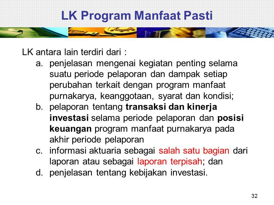 32 LK Program Manfaat Pasti LK antara lain terdiri dari : a.penjelasan mengenai kegiatan penting selama suatu periode pelaporan dan dampak setiap peru