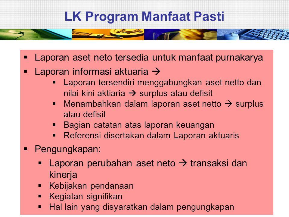 35 LK Program Manfaat Pasti  Laporan aset neto tersedia untuk manfaat purnakarya  Laporan informasi aktuaria   Laporan tersendiri menggabungkan as