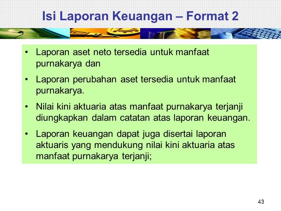 43 Isi Laporan Keuangan – Format 2 Laporan aset neto tersedia untuk manfaat purnakarya dan Laporan perubahan aset tersedia untuk manfaat purnakarya. N