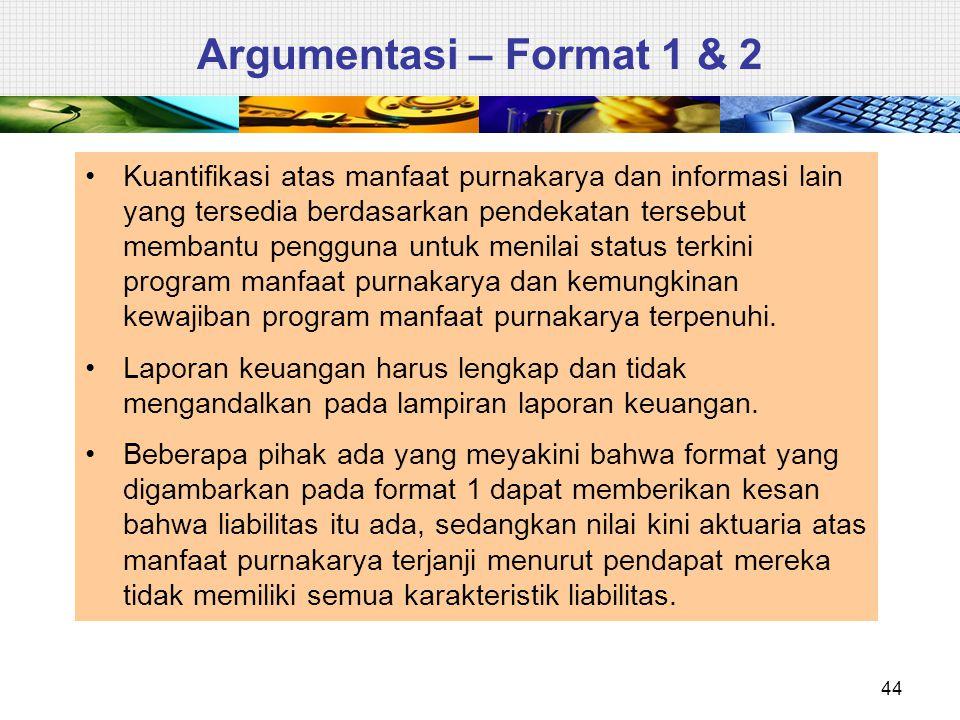44 Argumentasi – Format 1 & 2 Kuantifikasi atas manfaat purnakarya dan informasi lain yang tersedia berdasarkan pendekatan tersebut membantu pengguna