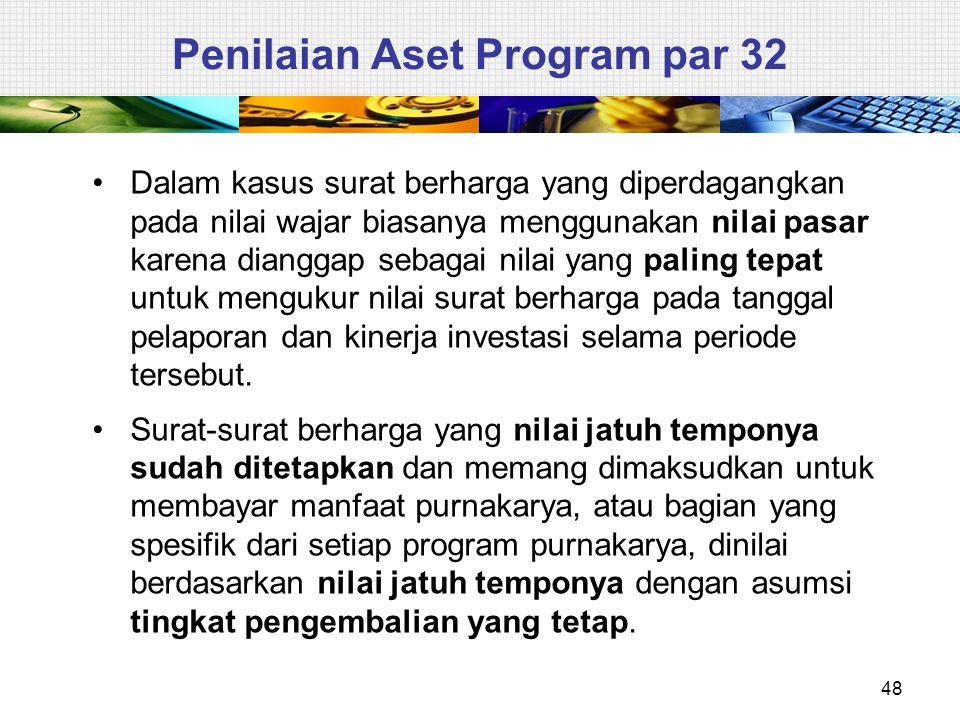 48 Penilaian Aset Program par 32 Dalam kasus surat berharga yang diperdagangkan pada nilai wajar biasanya menggunakan nilai pasar karena dianggap seba