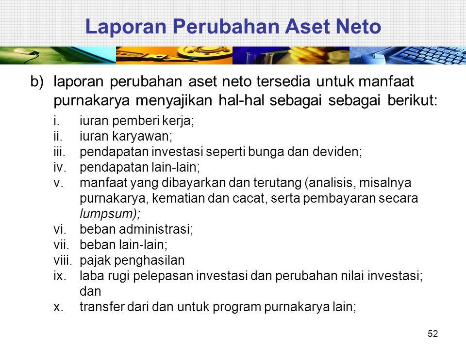 52 Laporan Perubahan Aset Neto b)laporan perubahan aset neto tersedia untuk manfaat purnakarya menyajikan hal-hal sebagai sebagai berikut: i.iuran pem