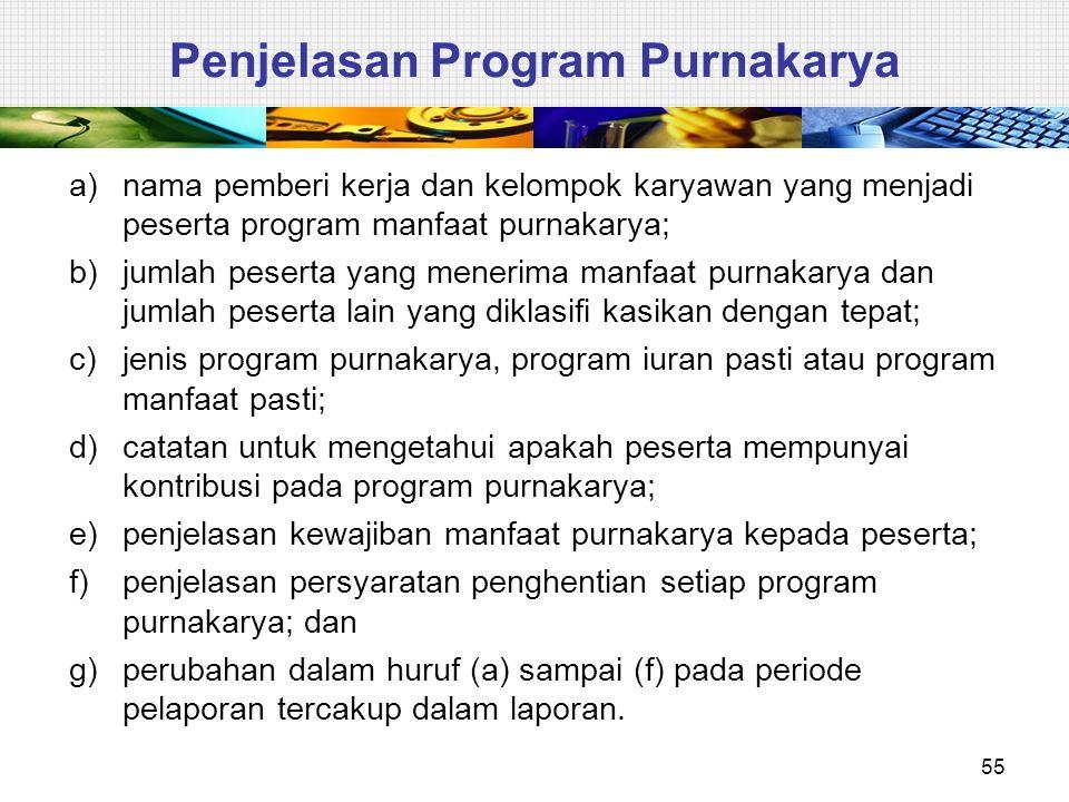 55 Penjelasan Program Purnakarya a)nama pemberi kerja dan kelompok karyawan yang menjadi peserta program manfaat purnakarya; b)jumlah peserta yang men