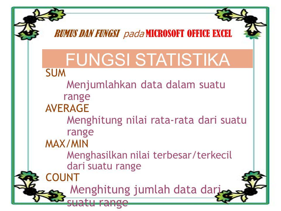 10/30/2013 MIFTAHUL ULUM 3 RUMUS DAN FUNGSI pada MICROSOFT OFFICE EXCEL SUM Menjumlahkan data dalam suatu range AVERAGE Menghitung nilai rata-rata dar