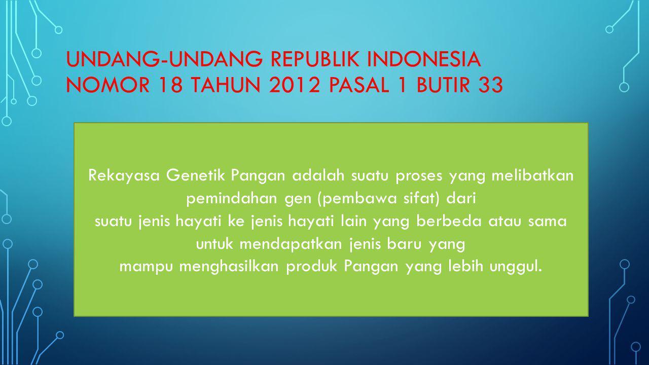 UNDANG-UNDANG REPUBLIK INDONESIA NOMOR 18 TAHUN 2012 PASAL 1 BUTIR 33 Rekayasa Genetik Pangan adalah suatu proses yang melibatkan pemindahan gen (pemb