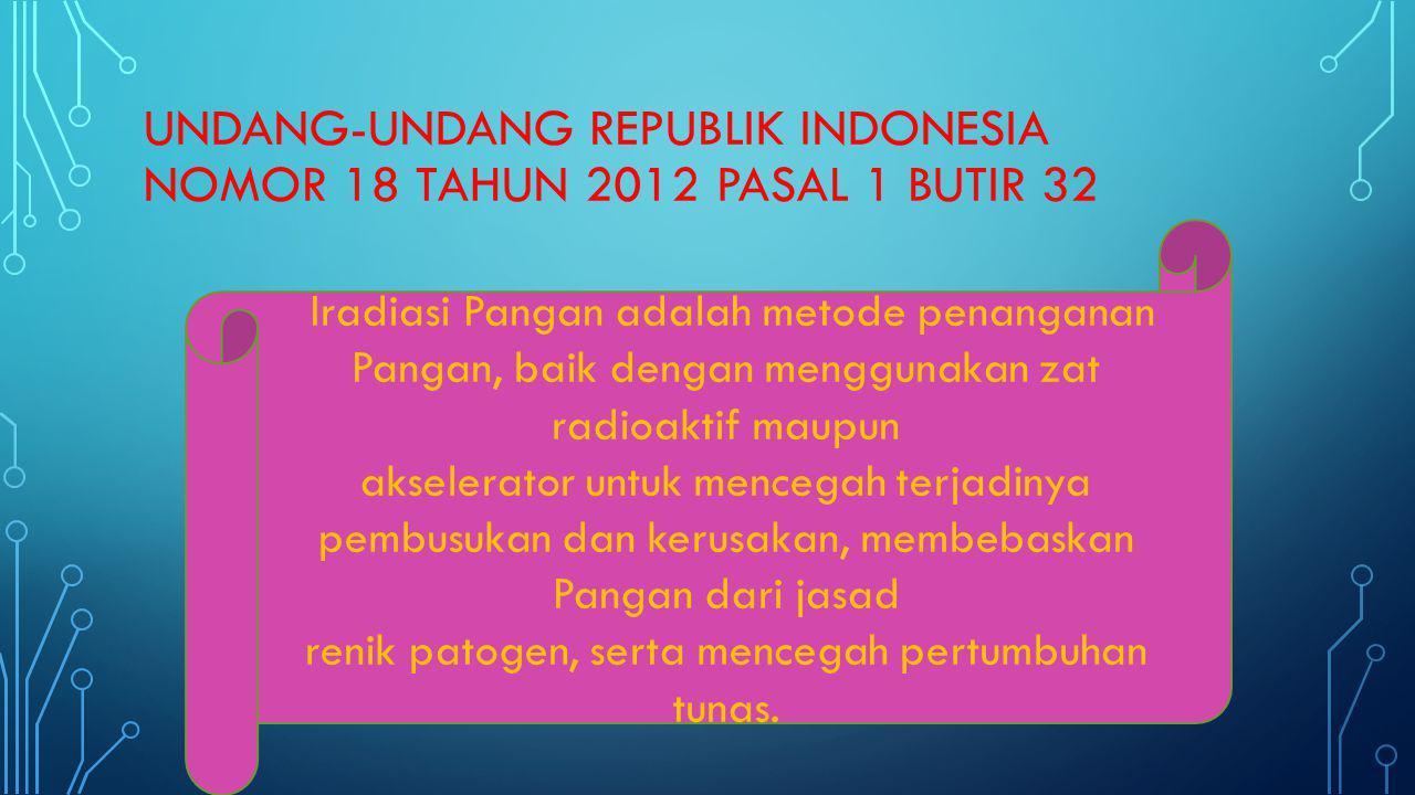 UNDANG-UNDANG REPUBLIK INDONESIA NOMOR 18 TAHUN 2012 PASAL 1 BUTIR 32 Iradiasi Pangan adalah metode penanganan Pangan, baik dengan menggunakan zat rad