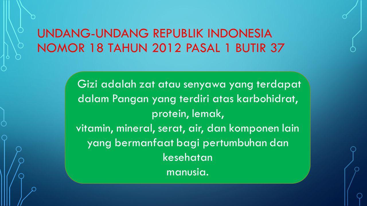 UNDANG-UNDANG REPUBLIK INDONESIA NOMOR 18 TAHUN 2012 PASAL 1 BUTIR 37 Gizi adalah zat atau senyawa yang terdapat dalam Pangan yang terdiri atas karboh