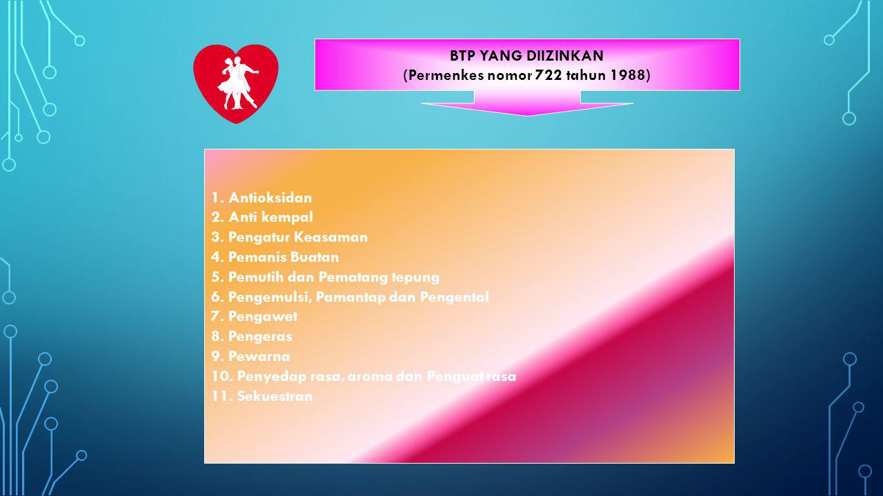 BTP YANG DIIZINKAN (Permenkes nomor 722 tahun 1988) 1. Antioksidan 2. Anti kempal 3. Pengatur Keasaman 4. Pemanis Buatan 5. Pemutih dan Pematang tepun