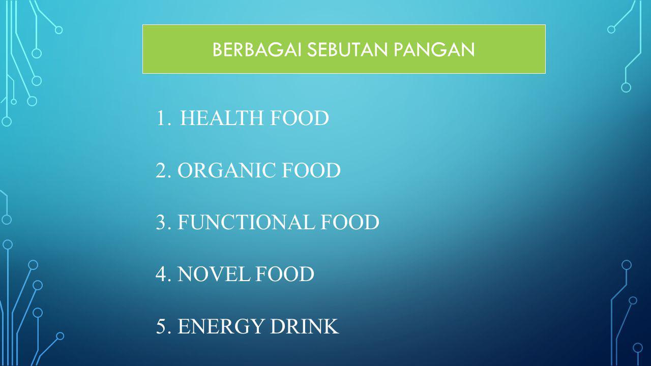 BERBAGAI SEBUTAN PANGAN 1.HEALTH FOOD 2. ORGANIC FOOD 3. FUNCTIONAL FOOD 4. NOVEL FOOD 5. ENERGY DRINK