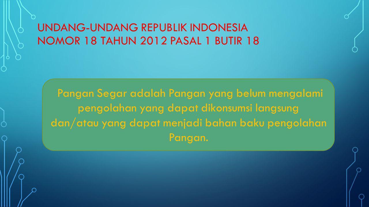 UNDANG-UNDANG REPUBLIK INDONESIA NOMOR 18 TAHUN 2012 PASAL 1 BUTIR 19 Pangan Olahan adalah makanan atau minuman hasil proses dengan cara atau metode tertentu dengan atau tanpa bahan tambahan.