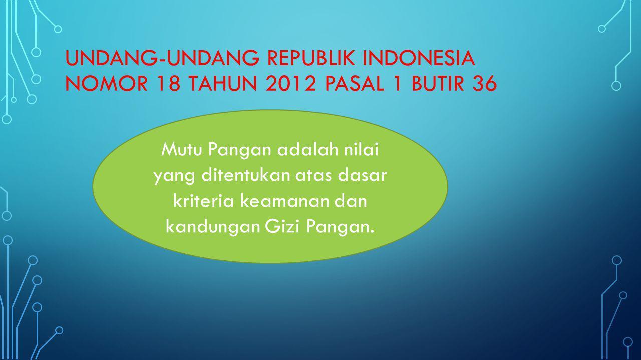 UNDANG-UNDANG REPUBLIK INDONESIA NOMOR 18 TAHUN 2012 PASAL 1 BUTIR 36 Mutu Pangan adalah nilai yang ditentukan atas dasar kriteria keamanan dan kandun