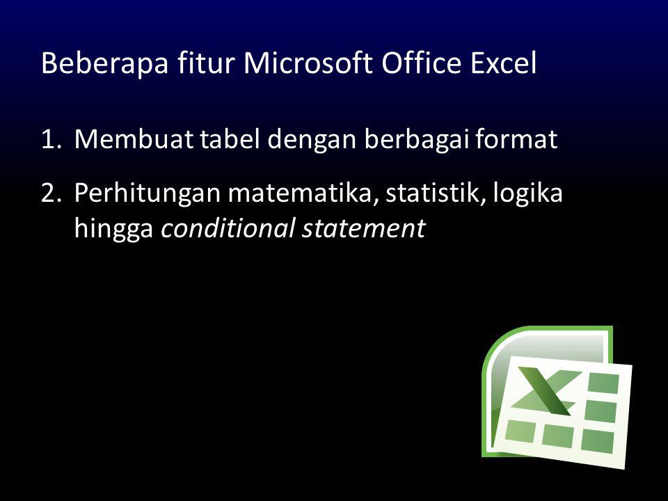 Beberapa fitur Microsoft Office Excel 1.Membuat tabel dengan berbagai format 2.Perhitungan matematika, statistik, logika hingga conditional statement